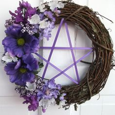 Spring Wreath , Ostara Wreath, Pentacle Wreath, Pentagram Wreath, Purple Flowers