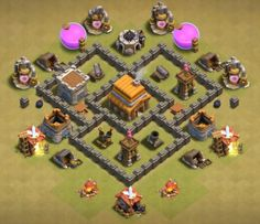 Best Town Hall 4 War, Farming and Hybrid Bases Anti Giants These base designs can defend giants archer and barbarians with ease. Clash Of Clans Th4, Town Hall 4, Layout Cv, Trophy Base, Bedroom False Ceiling Design, War, Farming, Vijay Actor, Chibi