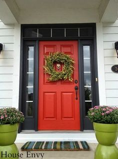 16 Ideas Red Door Black Shutters Exterior Paint For 2019 Unique Front Doors, Best Front Doors, Green Front Doors, Front Door Paint Colors, Painted Front Doors, Paint Colors For Home, Paint For Front Door, Exterior House Colors, Exterior Paint