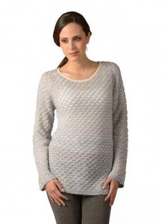 Marleny Sweater - Long-sleeve Sweater with a round Neck in a traslucent and embossed design in contrasting colors. (Composition: 100% Baby Alpaca)