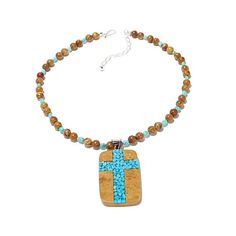 Jay King Brown and Blue Turquoise Pendant Necklace