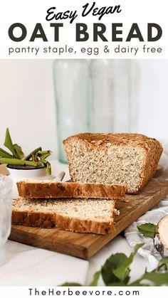 Vegan Oat Bread Recipe, Bread Recipes, Whole Food Recipes, Baking Recipes, Vegan Recipes, Traditional Bread Recipe, Plant Based Snacks, Easy Snacks, Dairy Free
