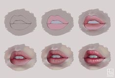 """Semi realistic lips mini tutorial. Details and PSD file will be available on my patreon http://patreon.com/serafleur.art I'll upload the large version…"" made by @serafleur.art on Instagram"