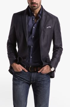Massimo Dutti Grey COTTON AND LINEN STRUCTURED BLAZER