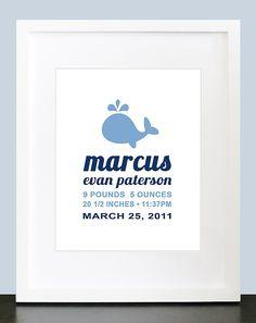 Modern Whale Birth Announcement Wall Art - 8x10 Baby Children Nursery Wall Print Poster