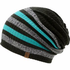 Add some variety to your outfit with a multi color look of the Empyre girls Zodiac black, teal, and charcoal stripe beanie. Improve any outfit with the black, teal, and charcoal stripe pattern, ribbed knit slouch construction, and an Empyre brand tag on the hem.