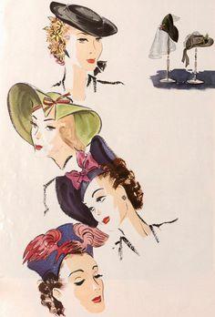 1938 1930s Hats, Fashion Illustration Vintage, Vintage Hats, Witch, Vintage Fashion, Anime, Clothes, Art, Craft Art
