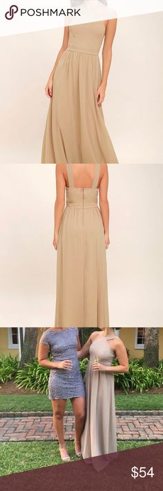 A beautiful nude colored Lulu's formal dress! This is a beautiful nude colored formal dress from Lulu's! This dress was worn once for a wedding that I was in. This dress is a size small and super comfortable. It received so many compliments when it was worn! Lulu's Dresses Maxi