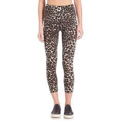 Norma Kamali Cheetah-Print Leggings ($130) ❤ liked on Polyvore featuring pants, leggings, apparel & accessories, cheetah, high waisted trousers, high rise leggings, cheetah print pants, wide pants and pull on pants