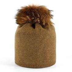 aaaf8aa451680 Star Beanie with Fur Pompon - Cognac Cashmere Beanie
