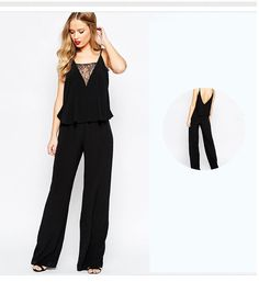 New Bodycon Suits Behind Hollow Out Lace JumpsuitWomen Black V-neck Strap Plus Size Long Pants Romper