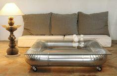 table basse en aluminium
