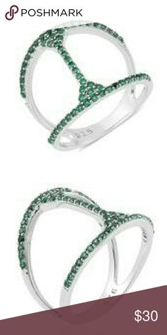 STERLING SILVER RING SIMULATED GREEN DIAMOND RING SET IN PURE 925-STERLING SILVER NICKEL FREE TCW 0.500 Jewelry Rings
