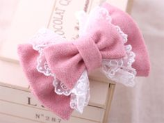 pink lace double bow clip