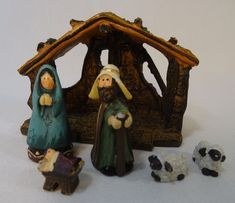Vintage Miniature Stable Nativity Set 6 piece | Collectibles, Holiday & Seasonal, Christmas: Modern (1946-90) | eBay!