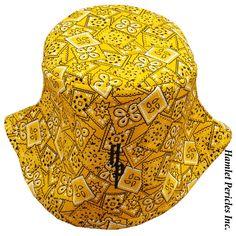 Yellow Bandana Unisex Bucket Hat by Hamlet Pericles, Inc.   #HamletPericles #Yellow #YellowAndBlack #Bandana #Bandanna #Kerchief #Headwear #Etsy #Colorful #OOAK #Headpiece #Milliner #Milliner #Fashion #Squares #SquareBandana