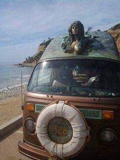 Land-transport for mermaids... VW Camper Bus Van BubbleTop 1973 VW Bus #Volkswagen ♥ #VWBus ☮ re-pinned to https://www.pinterest.com/wfpblogs/vw-bus/