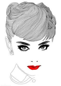 Portrait Audrey Hepburn lips red celebrity art sketch portrait pencil audrey  hepburn