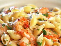 Succulent shrimp gets tossed with white wine and lemon; serve this with pasta such as conghiglie rigate  (shells).