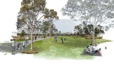 The North West Rail Link is Sydney's largest transport infrastructure project since work commenced on the Sydney Harbour Bridge. The 23 kilometre rail link will cater for future growth in the booming Landscape Sketch, Landscape Architecture Design, Architecture Drawings, Urban Landscape, Architecture Photo, Photomontage, Visualisation, Master Plan, Cool Landscapes