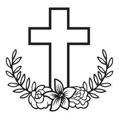 Silhouette Design Store: floral laurel cross
