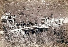 1889, Deadwood Stagecoach.  Two stages can actually be seen crossing an old bridge.
