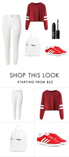 """how to wear outfits for school"" by shahdalhalabi on Polyvore featuring River Island, Mansur Gavriel, adidas Originals and NARS Cosmetics"