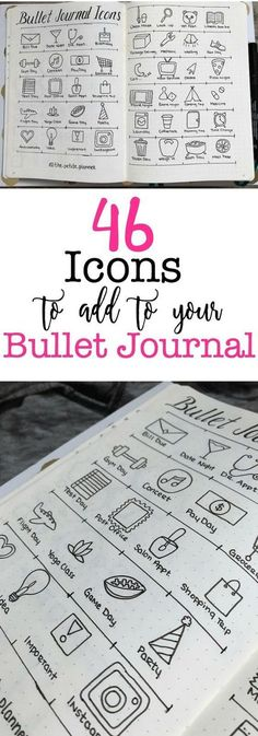 Creative Decoration: 46 Icons for your Bullet Journal. Bujo illustration Planner Spread drawing give your bullet journal weeklies, dailies and monthlies some pizzazz Diy Bullet Journal, Bullet Journal Banners, Bullet Journal Calendrier, Bullet Journal Spread, Bullet Journal Layout, Bullet Journal Inspiration, Bullet Journal Calendar Ideas, Bullet Journal Timetable, Bullet Journal For School