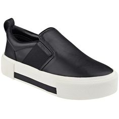 Kendall + Kylie Tenley Leather Slip-On Flatform Sneakers (170 CAD) ❤ liked on Polyvore featuring shoes, sneakers, black, platform shoes, black platform sneakers, leather sneakers, black platform shoes and black slip on sneakers