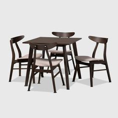 Free shipping on orders of $35+ from Target. Read reviews and buy 5pc Britte Fabric Upholstered Wood Dining Set Beige/Dark Brown - Baxton Studio at Target. Get it today with Same Day Delivery, Order Pickup or Drive Up. Dining Set With Bench, Solid Wood Dining Set, 5 Piece Dining Set, 4 Dining Chairs, Dining Room Sets, Table And Chairs, Mid Century Modern Lighting, Square Tables