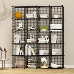 UNICOO Multi Use DIY 20 Cube Wire Grid OrganizerWardrobe Organizer Bookcase  Storage Organizer Wardrobe Closet Black Wire ** Check Out This Great  Product.