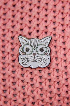 Calling all you crazy cat ladies out there! Get this cute enamel cat pin of a striped British Shorthair cat (based on my own book-loving cat, Monty) wearing Harry Potter-style glasses to up your #pingame now!  Its the ideal gift for any of your cat lover friends, a cat-loving nerd, or anyone who loves cat jewelry