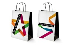 'Mall of America' Identity on bags. The logo (left) doesn't really grab me, but the unwrapping of the ribbon is stylish.