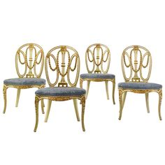 FOUR 18th CENTURY GEORGE III CHAIRS IN MANNER OF JOHN LINNELL