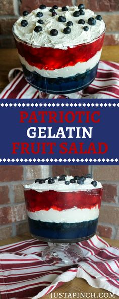 Gelatin Fruit Salad Easy red, white and blue fruit salad - perfect of July dessert!Easy red, white and blue fruit salad - perfect of July dessert! Patriotic Desserts, 4th Of July Desserts, Summer Dessert Recipes, Fourth Of July Food, 4th Of July Party, Holiday Desserts, Holiday Treats, Holiday Recipes, July 4th