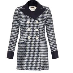 Goat Channing Blue Houndstooth Check Coat (9 405 UAH) ❤ liked on Polyvore featuring outerwear, coats, navy, lapel coat, navy blue wool coat, blue coat, wool coats and oversized coat