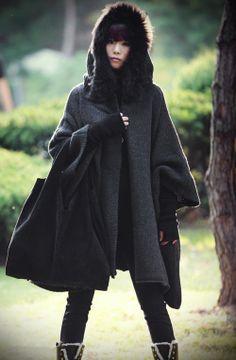 Femmes noir gris cape manteau manteau d'hiver tissu automne-hiver femme laine Long tricot manteau pull manteau Cape à capuchon/vêtements /jacket