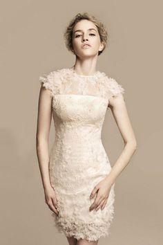 2013 Wedding Dresses  Sheath/Column Short Cap Sleeves Good Quliaty Lace USD 157.29 BPP8MH629R - BrandPromDresses.com