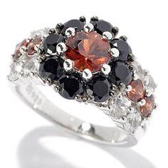 Gem Insider Sterling Silver 3.39ctw Spinel, Mocha & White Zircon Flower Ring
