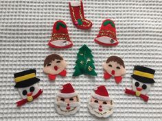 9 VINTAGE FELT CHRISTMAS TAGS - SANTA CLAUS SNOWMAN CHOIR BOY STOCKING BELL TREE in Collectibles | eBay