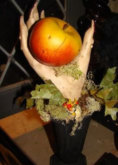 Creepy witches hand with apple great for a darker fairytale party as well as other ideas...