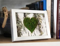 Moss Heart & Birch Bark Rustic Framed Art - Zero Care, Real and Preserved. from ArtisanMoss on Etsy. Birch Bark Decor, Birch Bark Crafts, Wood Crafts, Moss Wall Art, Moss Art, Spring Projects, Diy Art Projects, Nature Decor, Nature Crafts