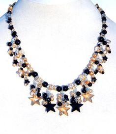 Swarovski Crystal Stars, Celestial Jewelry, Swarovski Star Pendants, Onyx, Freshwater Pearls, Champagne and Black, Matching Star Earrings