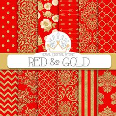 """Red Digital Paper: """" RED & GOLD"""" with red and gold damask, metallic gold damask, red scrapbook paper, red and gold patterns for scrapbooking #red #gold #planner #damask #partysupplies #scrapbookpaper #digitalpaper #wedding"""
