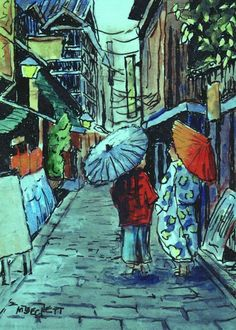 CEO Original Painting Stroll In The City cityscape oriental parasol umbrella  #Impressionism