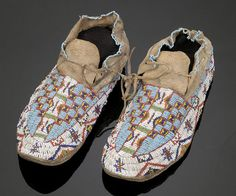 Sioux Fully Beaded Hide Moccasins,
