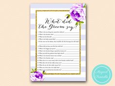 Purple What did the Groom Say What did he say by MagicalPrintable