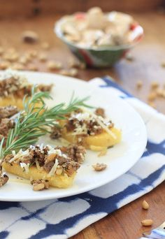 Mushroom Sausage Polenta Bruschetta~Blend mushrooms in to sausage to cut back on meat, but still taste delicious!