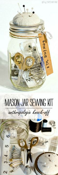 Mason Jar Craft Ideas - Sewing Kit - Anthropologie Mason Jar Sewing Kit Craft Idea @iaswp