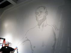 Starting to sketch the mural of David at the www.vermillionseattle.com gallery Day #1.  #graffiti #weirdo #spraypaint